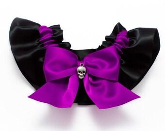 Wedding garter - bridal garter - purple and black garter with skull - purple skull garter - purple and black garter - purple gothic garter