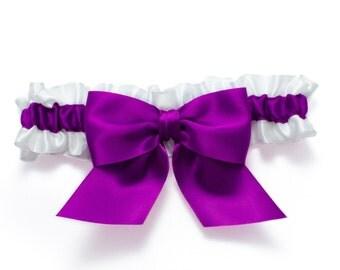 Wedding garter - bridal garter - purple and white garter - purple toss garter - purple and white toss garter - purple and white satin garter