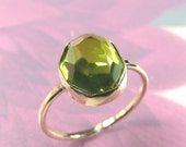 Rose cut Peridot ring set in solid 14k Gold