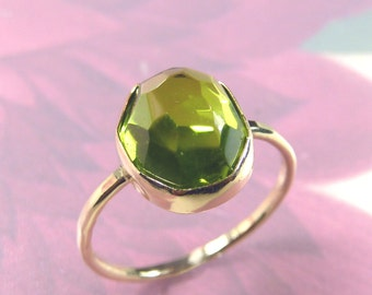Rose cut Peridot ring set in solid 14k Gold