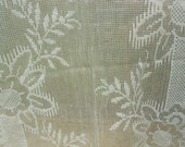 Leaf garden, cotton rich lace fabric, Vintage French used fabric.