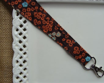 Fabric Lanyard Badge ID - Cherry Blossoms on Brown