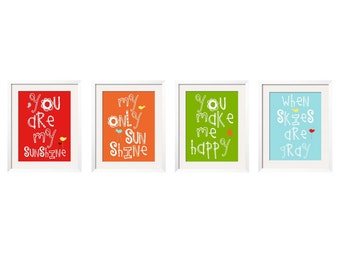 You Are My Sunshine  My only Sunshine 4 pc Art Print Set Customized colors by YassisPlace (GSBI-002)