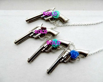 Gun Necklace Vintage Repurposed Country Chic Rose One of A Kind Lisiting for One Gun