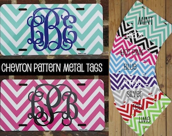 SALE/CLEARANCE - Personalized Metal Chevron Print Car Tag License Plate - Choose your color