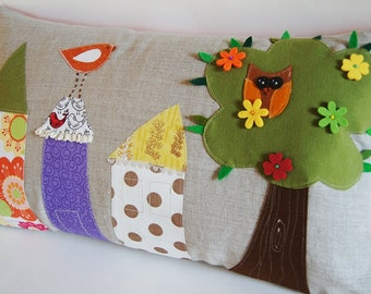 """Houses and Tree Owl Bird Organic Linen Pillow Cover/ 12""""x20""""/ OOAK/ Made To Order"""
