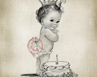 Adorable Vintage Baby Princess Birthday Girl LARGE Digital Vintage Image Download Sheet Transfer To Totes Pillows Tea Towels T-Shirts