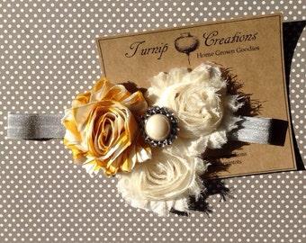 Mustard Yellow and Shabby Frayed Flower Headband with Pearl Rhinestone Gray Photo Shoot