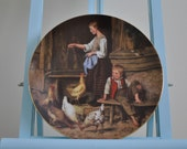 Vintage Langenthal plate - Girl Feeding Chickens - Ankers Heritage Collection - Neuchatel Museum - Bradford Exchange - 78-L5-1.3