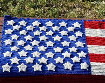 Wool Square Blanket for Baby, Hand knitted Baby Blanket, for boy or girl, Usa Flag, United States