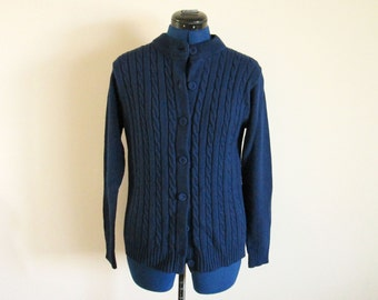 Dark Navy Blue Vintage Sweater, Virgin Acrylic Fiber, 43 bust, 40 waist