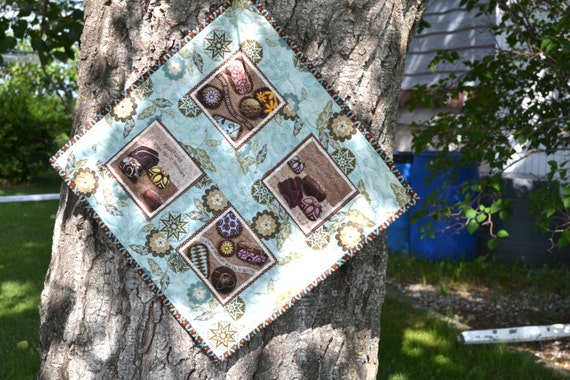 I love Chocolate Quilted Wall Hanging Robins Egg Blue and Chocolate Brown