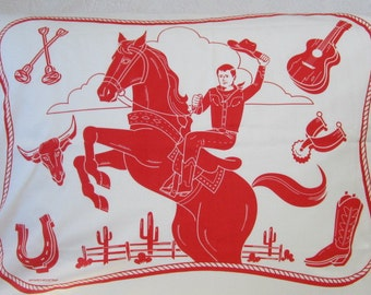 Western Cowboy Pillowcases/Maynard's Mousetrap/Red Cowboys/Wild West/Pillows/Sheets