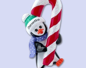 PETEY PENGUIN w/Candy Cane Personalized Christmas Ornament Hand Painted RESIN