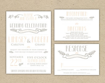 Vintage Wedding Invitation and RSVP- customize with your colors, diy. SAMPLE (1007)
