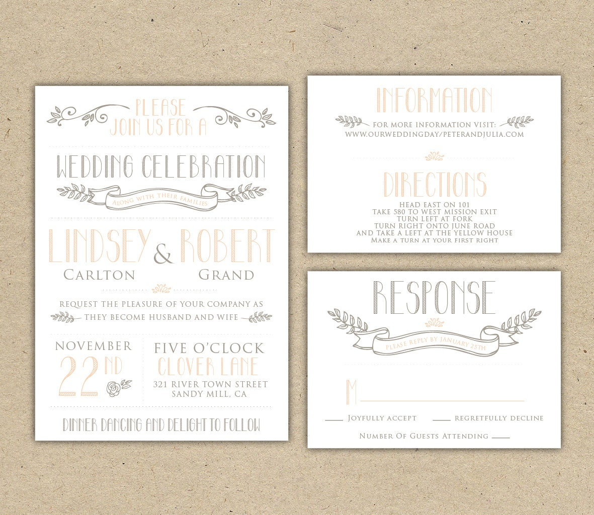 Vintage Wedding Invitation And RSVP Customize With By