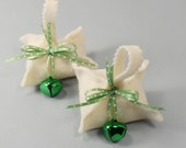 Potsticker Ornament, Set of 2, Green Dot Ribbon, Green Jingle Bell