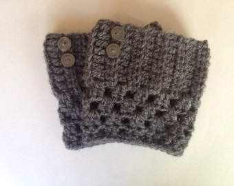 Grey Crochet Boot Cuffs With Buttons