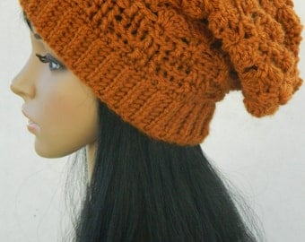 Slouchy Beanie Long  Winter crochet Hat Adults Women Teen Girls Headwarmers In Rust  Burnt Orange