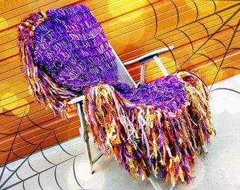 Halloween Blanket Halloween Decor Afghan Throw Blanket Purple and Orange Halloween Decoration (Holidays)
