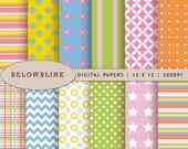 Fun Digital Paper Pack, Scrapbook Papers, 12 jpg files 12 x 12 - Instant Download - DP223