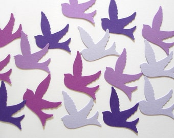 100 Mixed Purple Birds in Flight punch die cut confetti cutout scrapbooking embellishments - No880