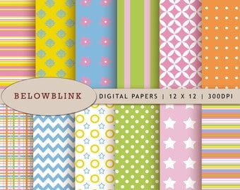 Fun Digital Paper Pack, Scrapbook Papers, 12 jpg files 12 x 12 - Instant Download - DP223