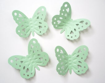 50 Large Pastel Green Embossed Butterfly punch die cut cutout scrapbooking embellishments - No1029