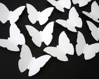50 Large Classic White Butterfly die cuts punch confetti scrapbook embellishments - No110