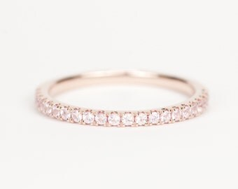 CERTIFIED - Light Pink Sapphire 14K Rose Gold Wedding Band