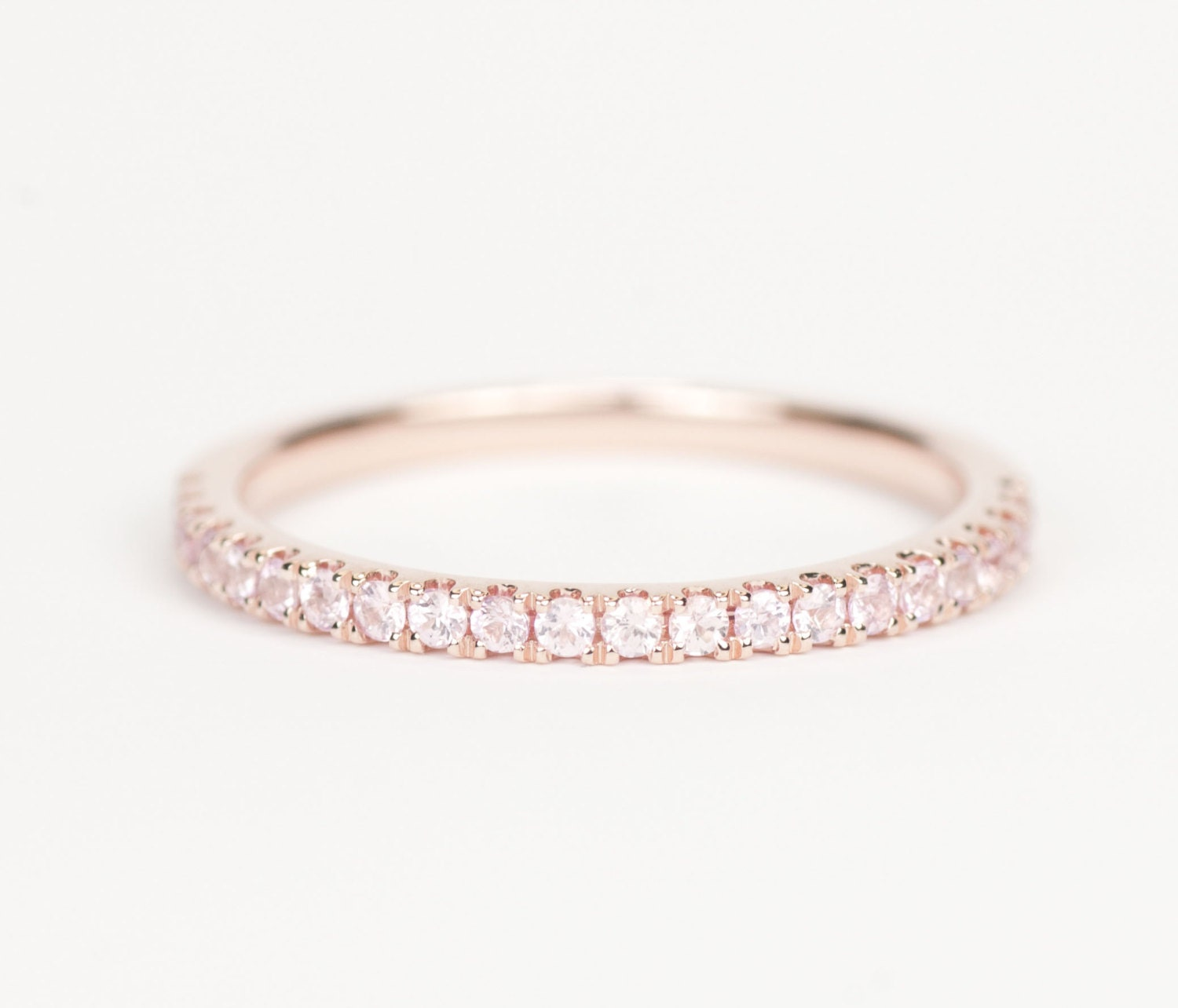 certified light pink sapphire 14k rose gold wedding band