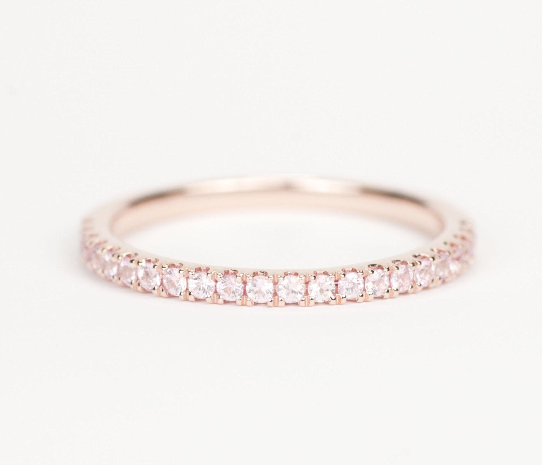 certified light pink sapphire 14k gold wedding band