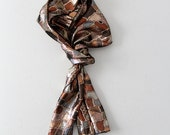 ON RESERVE  metallic scarf,  vintage abstract print head wrap