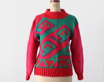 vintage 80s sweater,  pink geometric knit pullover