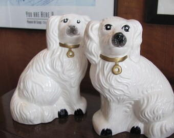 Vintage Staffordshire Style Spaniel Dogs with Gold and Black Accents Ceramic Figurine Mantel Pieces - pair - Home Decor