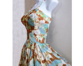 1950s Taffeta Party Dress by Julie Miller with Parachute skirt