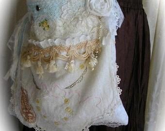 Shabby Cotton Bag, handmade white fabric purse, romantic lace, vintage linen