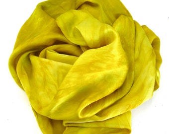 SALE  ...   hand dyed silk charmeuse scarf   ...  golden yellow