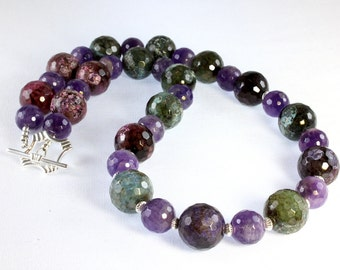 Green and Purple Necklace, Agate and Amethyst Necklace, Sterling Silver, Chunky Necklace, Gemstone Necklace