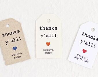 Wedding Favor Tag - Thanks Y'all, Bridal Shower Favor Tag, Party Favor Tag, Personalized Tag, Gift Tag, DIY Wedding - Set of 25 (SMGT-KTP)