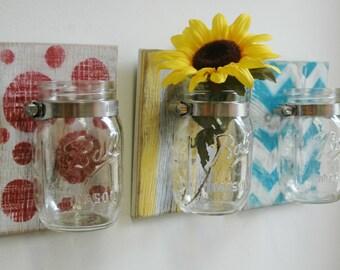 YOU PICK Fun Patterns Wall Decor Trio Three Mason jars mounted on recycled wood shabby chic rustic wall decor