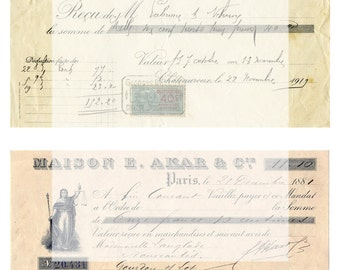 Digital Collage Sheet No 30 Vintage Receits Ephemra for Scrapbooks Tags Cards ATC Journaling