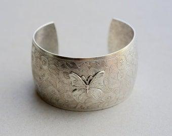 SALE/Flower Blossom Bracelet,Butterfly Bracelet,Victorian Floral Cuff,Silver Bracelet,Cuff Bracelet,Bracelet,Wedding,Bride.