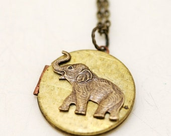 on sale Locket,Brass Locket,Elephant Vintage Locket Necklace,Best of Friends,Love,Wedding Necklace