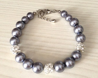 Gray pearl  bracelet with rhinestones  - Bridal bracelet - Bridesmaid bracelet - Bridal under 25