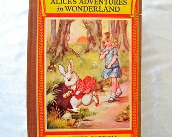 Vintage Book Alice in Wonderland by Lewis Carroll circa 1943 Alice's Adventures in Wonderland Newbery Classics