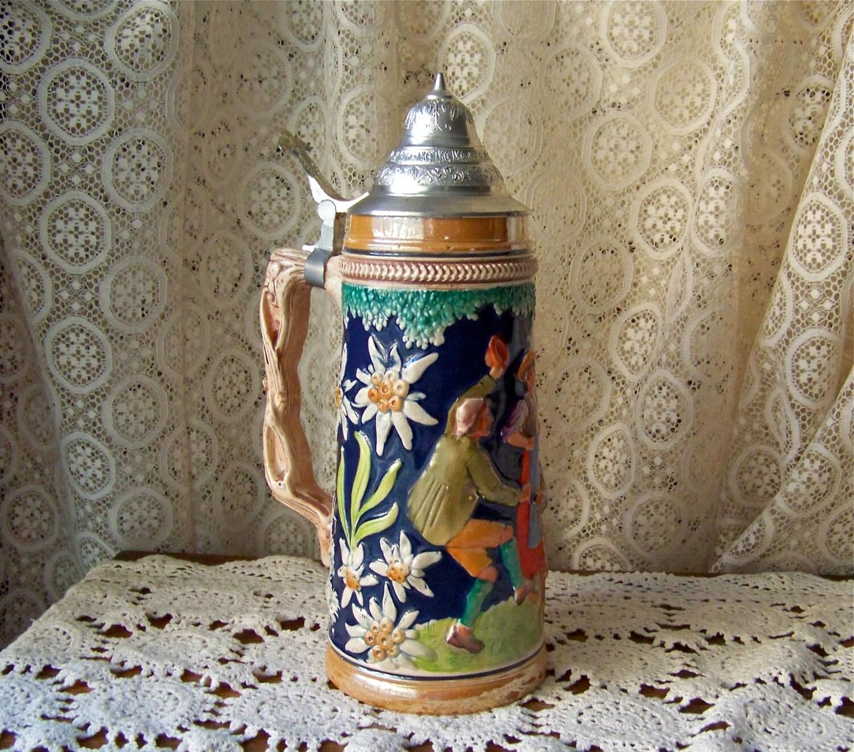 Vintage Beer Stein Germany Stoneware Mug Cobalt Blue Pewter