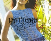 Summer  Crochet Top,Row by Row Pattern with Chats and information on yarn and stitches.   Only  in PDF files