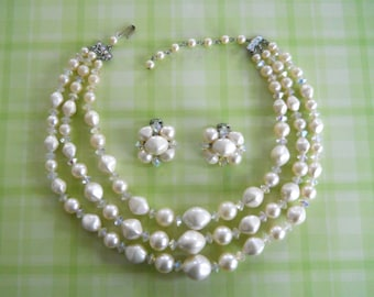 1960's Three Strand Necklace & Matching Clip-On Earrings