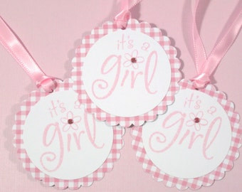 Set of 10 Pink and White Baby Shower Tags- It's a Girl Tags - Gift Tags